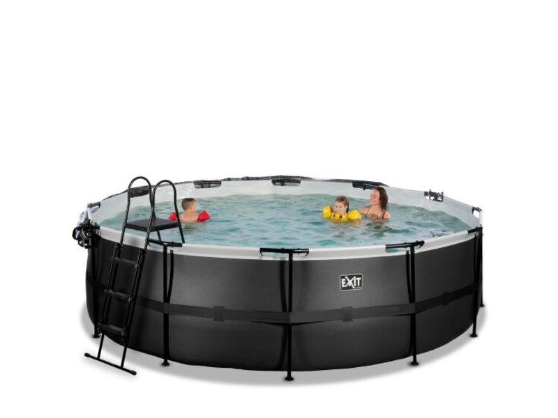 EXIT Zwembad Black Leather 488x122cm met overkapping inclusief zandfilterpomp en zwembadtrap