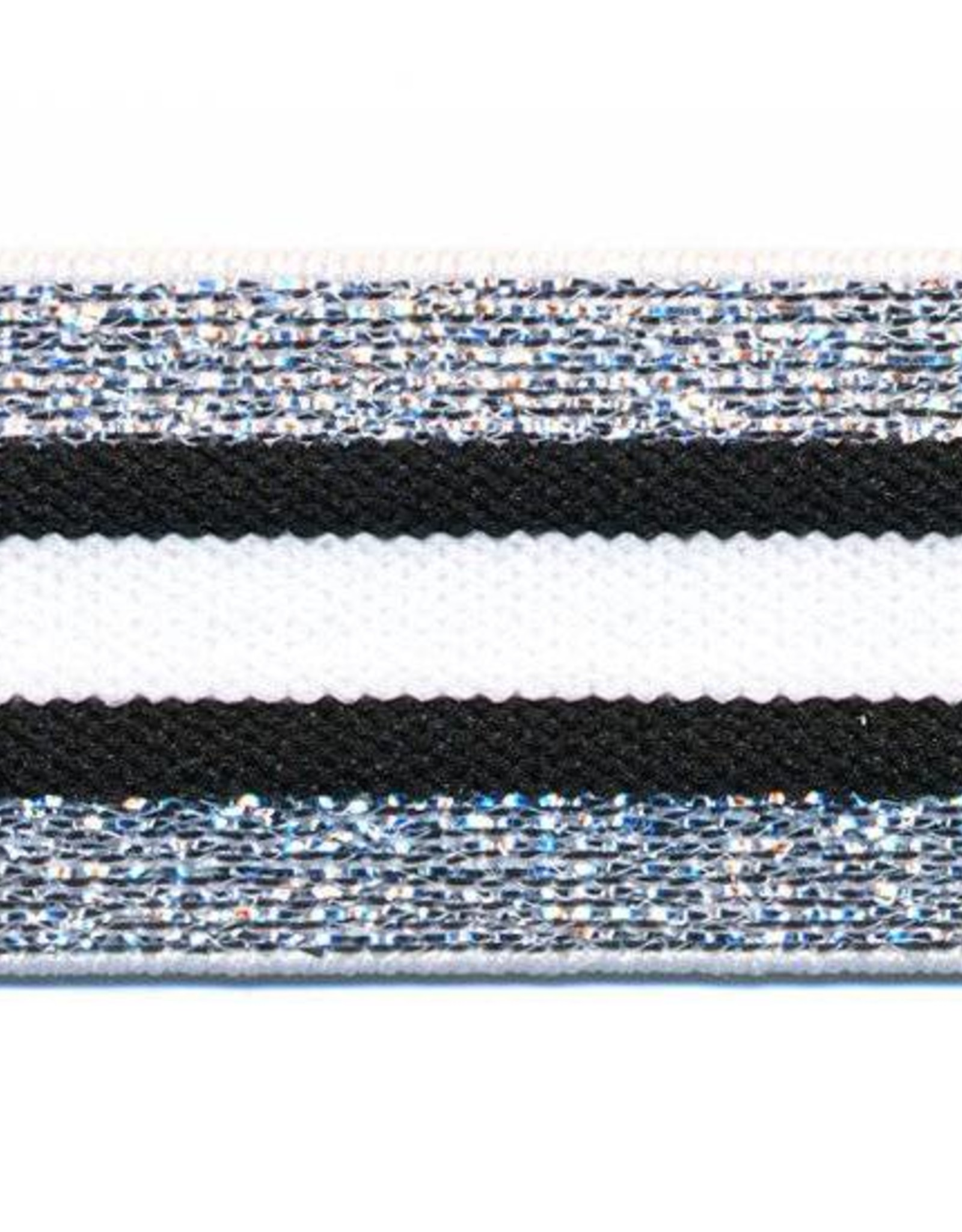 Glitter Elastiek  - Streep - Zilver - Wit - Zwart