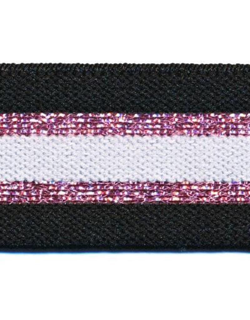 Glitter Elastiek  - Streep - Rose - Wit - Zwart