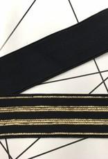 Glitter Elastiek  - Streep - Zwart - Goud