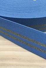 Glitter Elastiek  - Streep Goud - Blauw