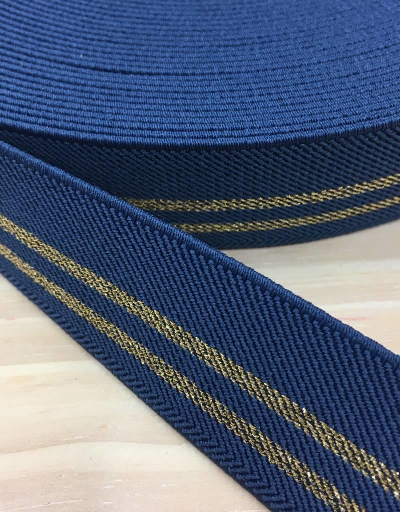 Glitter Elastiek  - Streep Goud - Jeans Blauw