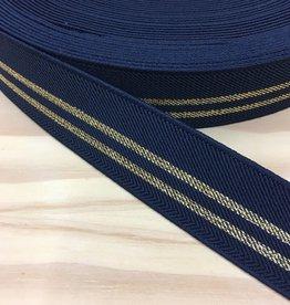Glitter Elastiek  - Streep Goud - Marine Blauw
