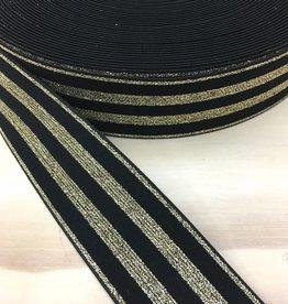 Elastiek  - 4 cm - Goud - Zwart
