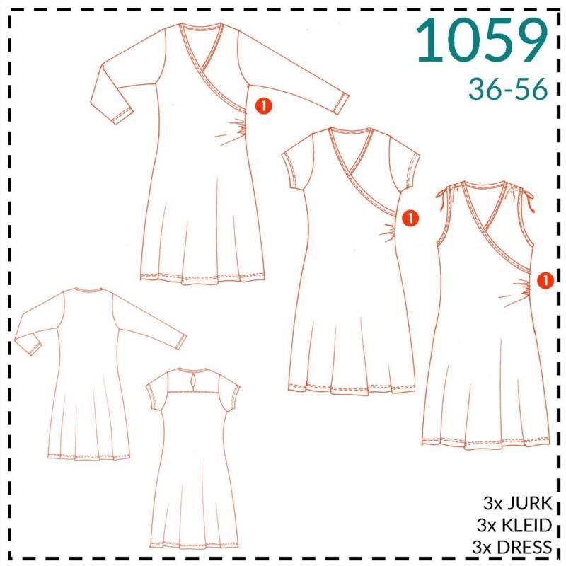 215395037c5655 Patroon - It s a fits 1059 – Overslag Jurk - Studio Olive