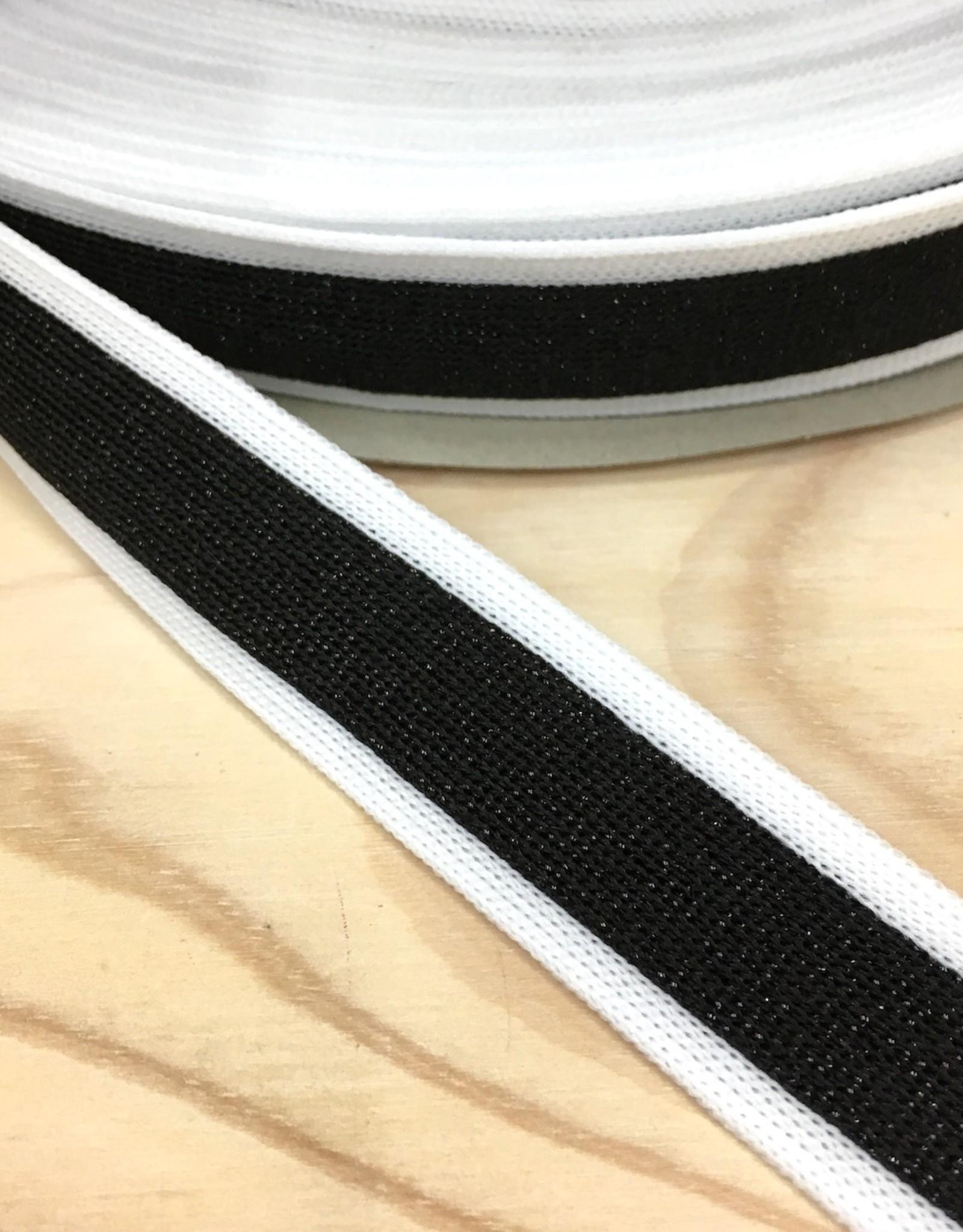 Sierlint - Broekstreep - Wit - Glitter Zwart