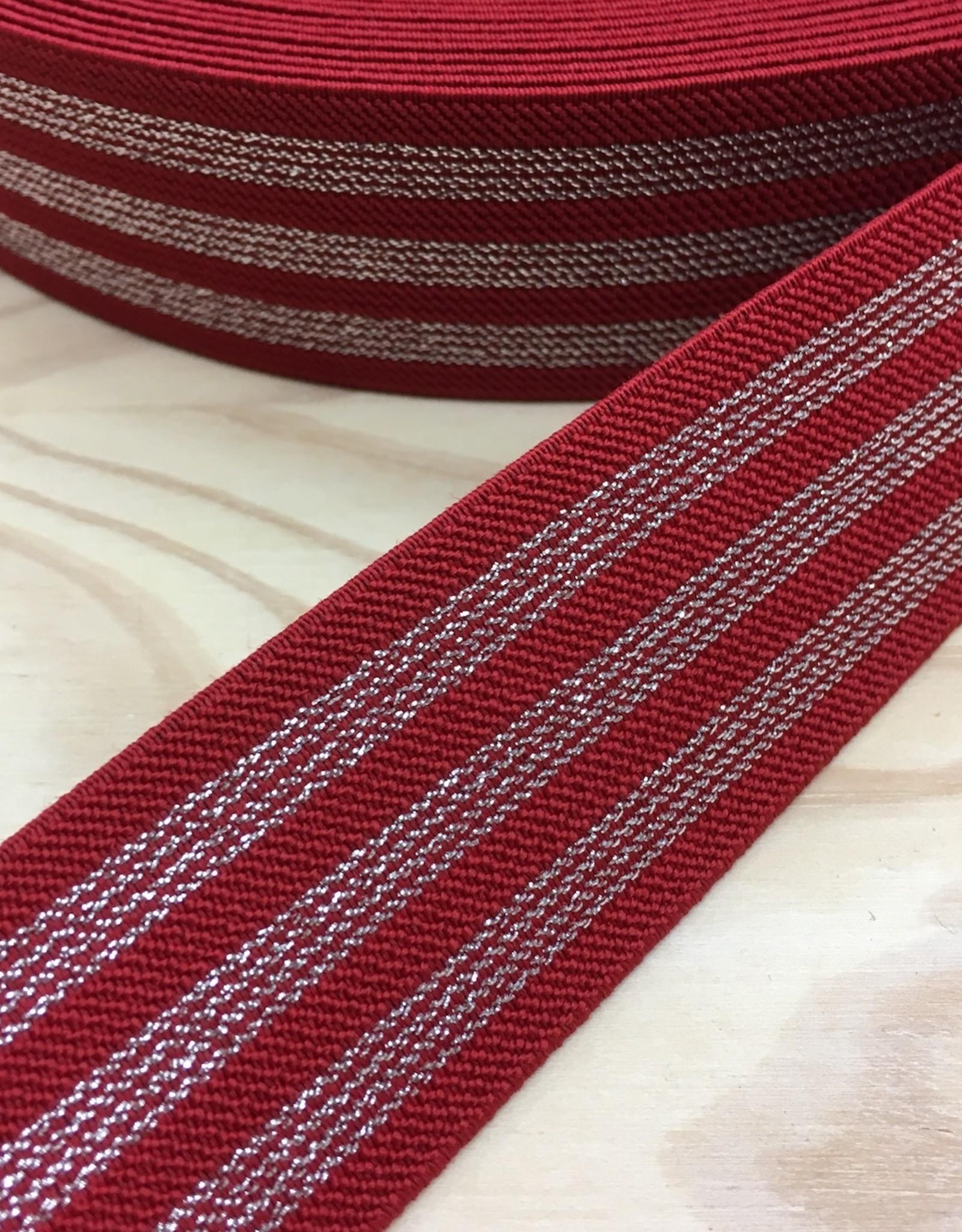 Elastiek  - 4 cm - Zilver - Rood