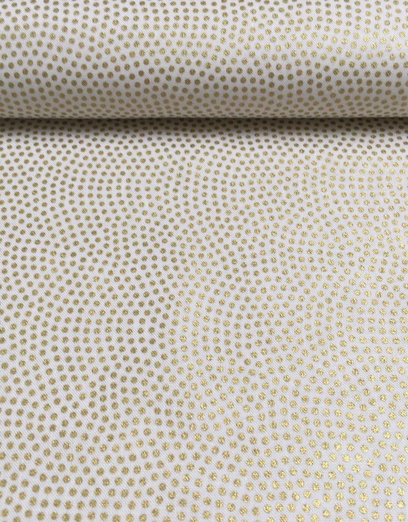 Katoen - Little golden dots - Wit