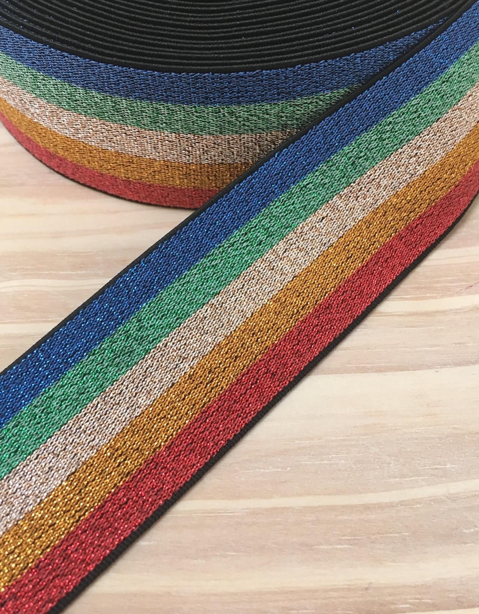 Elastiek  - 4 cm - regenboog - Glitter
