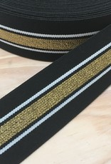 Elastiek  - 4 cm - Zwart - Goud