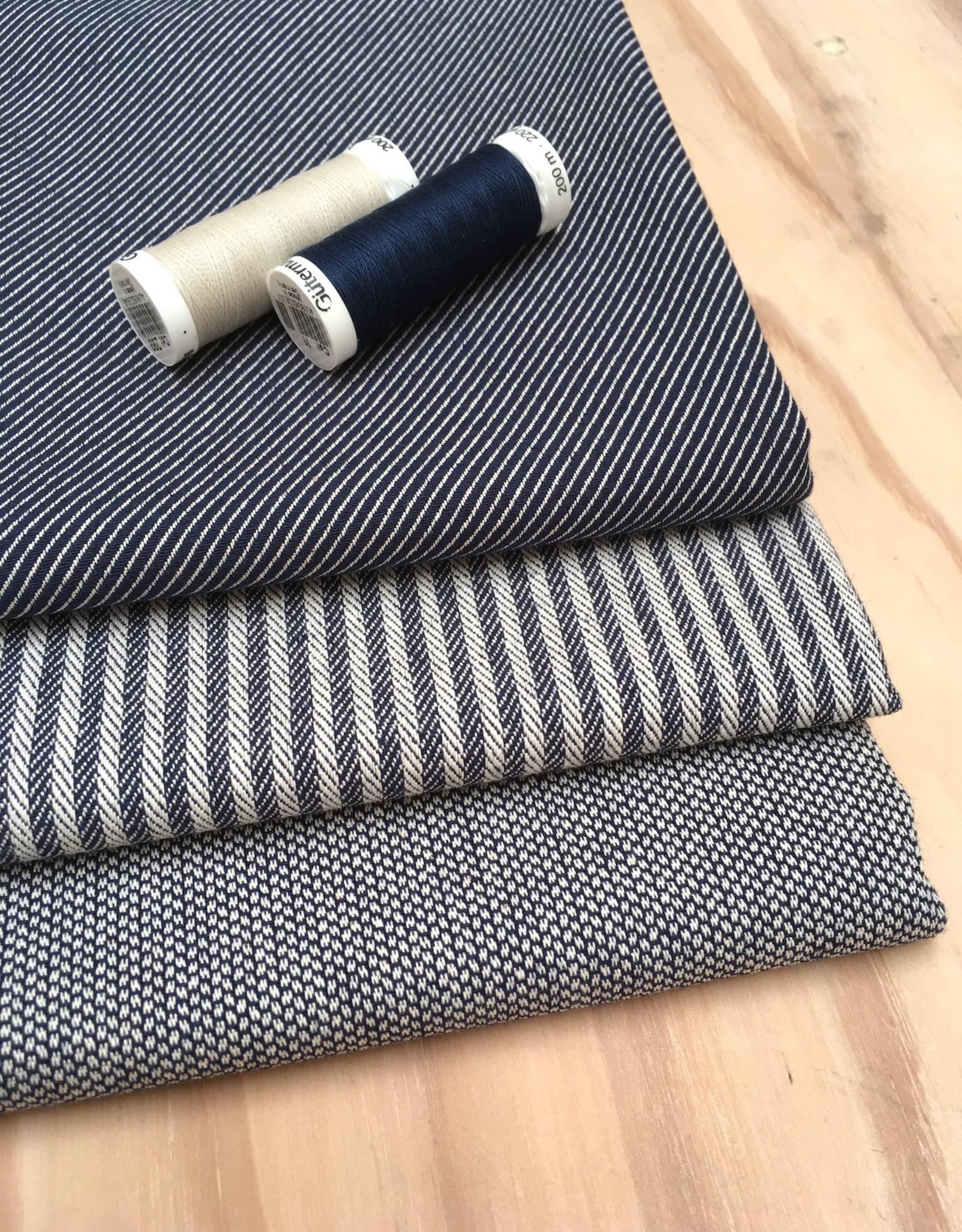 Canvas - Jaquard - Visgraad - Marineblauw