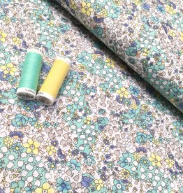 Katoen - Pastel Flower - Geel