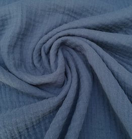 Double Gauze - Effen - Jeansblauw