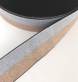 Glitter Elastiek  - 4 cm - Rosé & Zilver