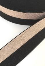 Glitter Elastiek  - 4 cm - Rosé & Zwart
