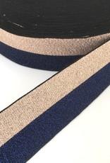 Glitter Elastiek  - 4 cm - Rosé & Blauw