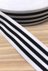 Elastiek  - 4 cm - Zwart - Wit