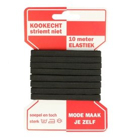 Elastiek  - zwart 6 mm - 10m