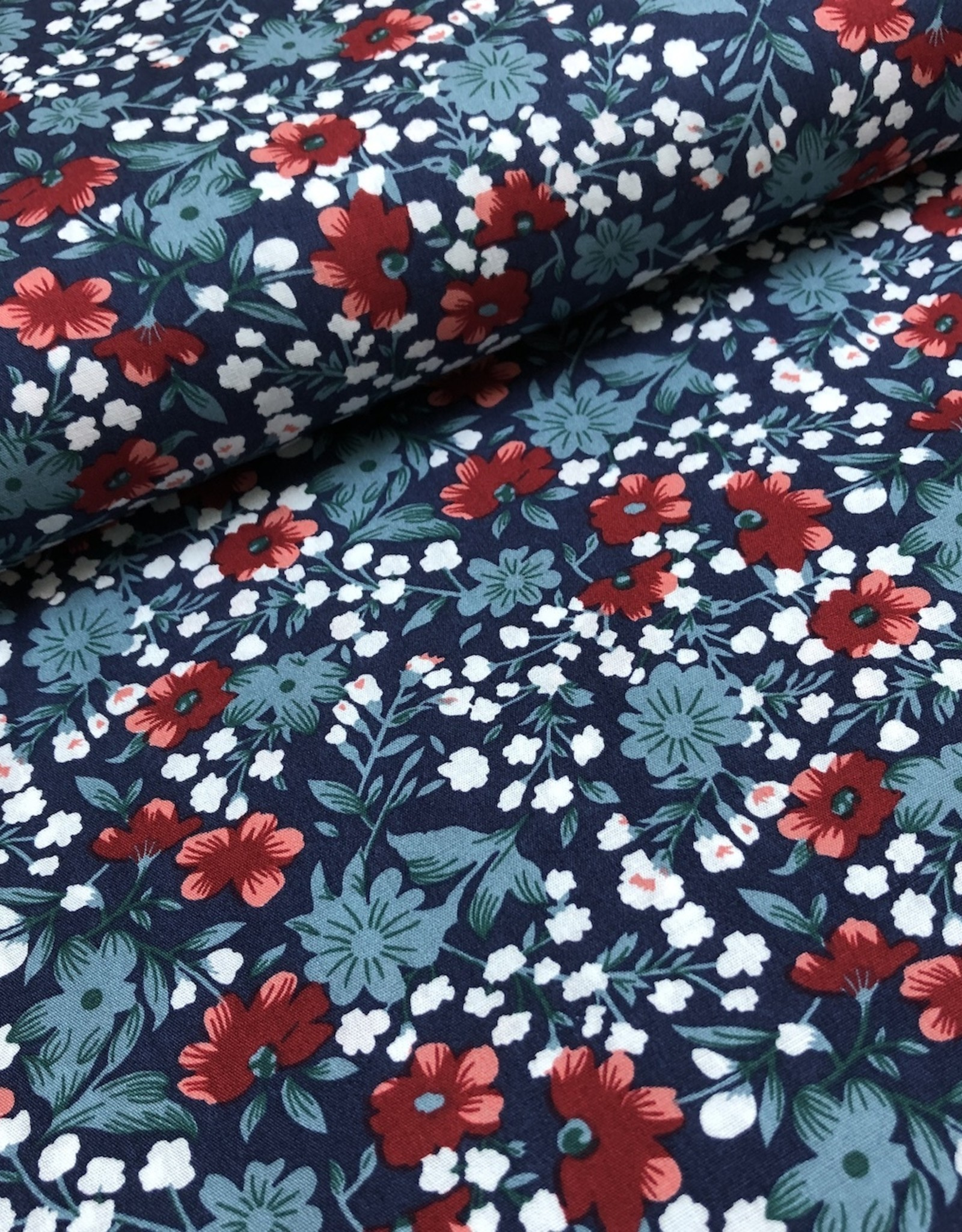 Katoen - Fleur Blue