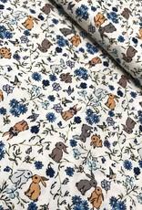 Katoen - Little Flower Bunny - Blauw