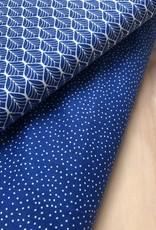 Katoen - Stippeltjes - Kobaltblauw
