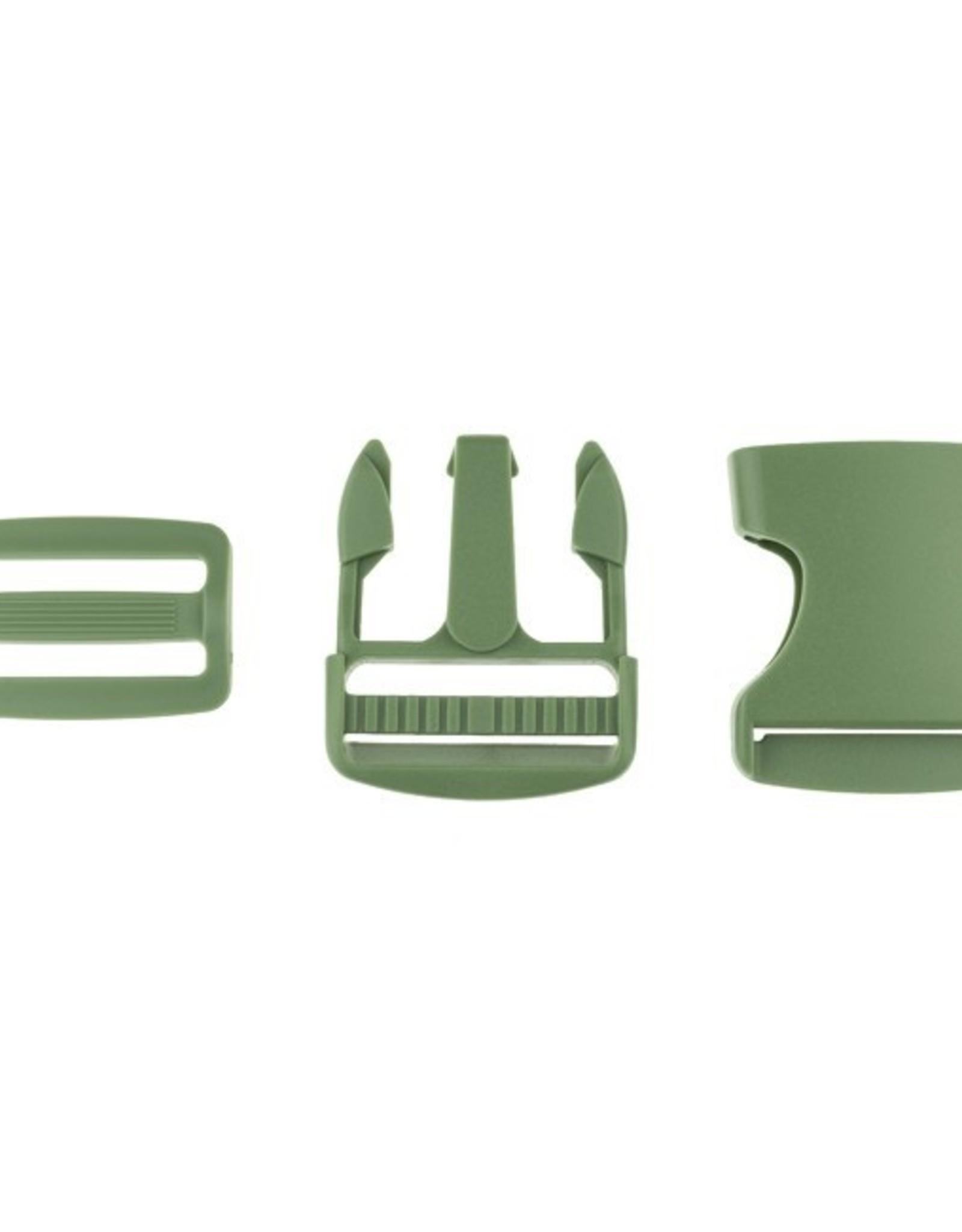 Klikgesp & Schuifgesp - Kaki Groen - 38mm