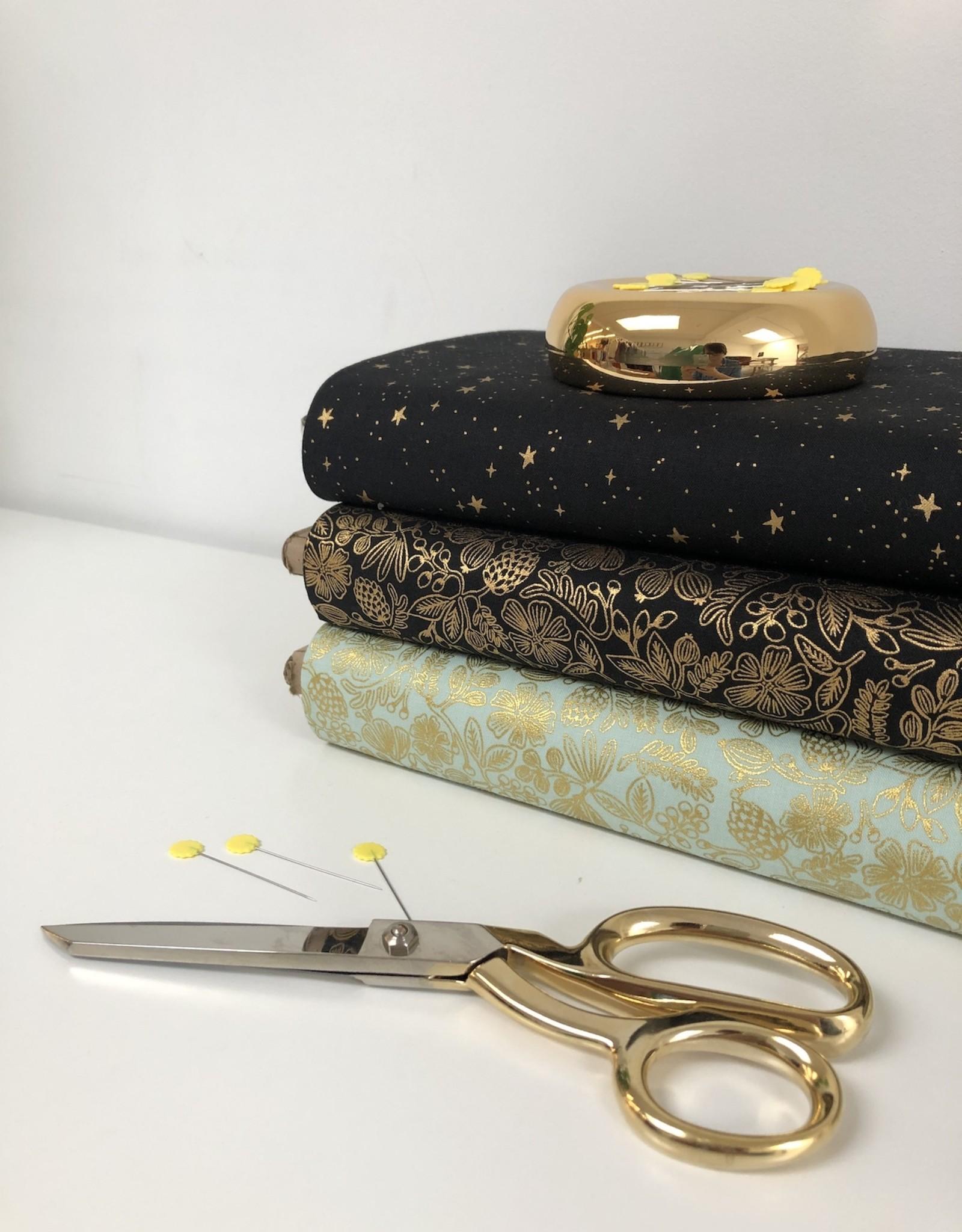 cotton&steel Katoen - Rifle Paper Stars - Black & Gold