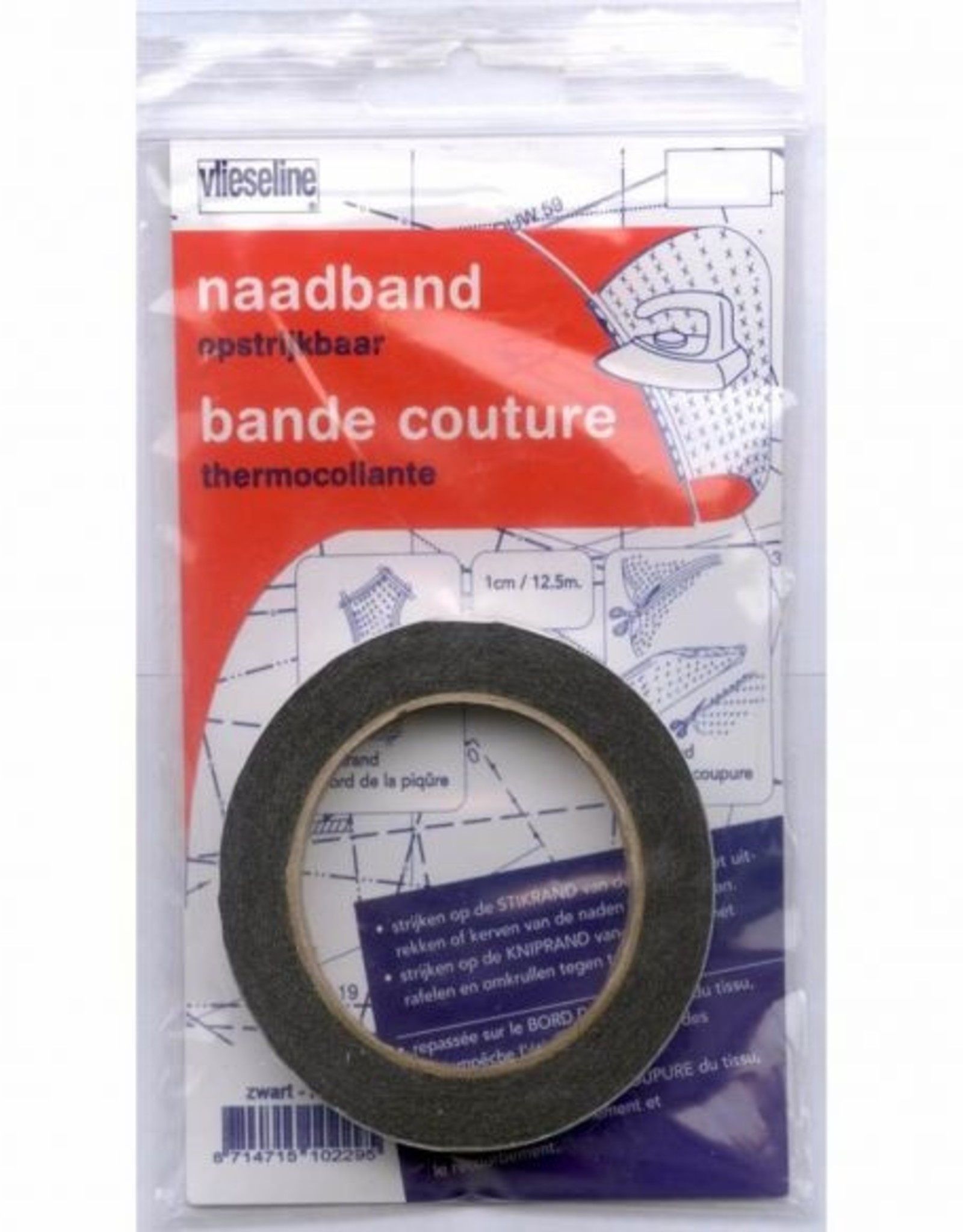 Vlieseline Naadband - 1cm - Zwart