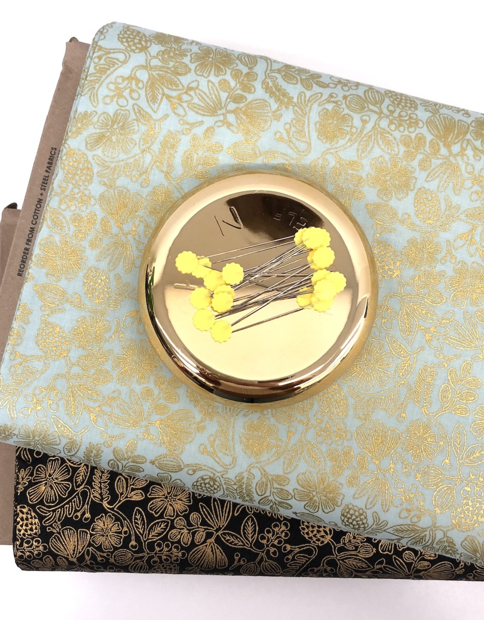 cotton&steel Katoen - Rifle Paper Flowers - Mint & Gold