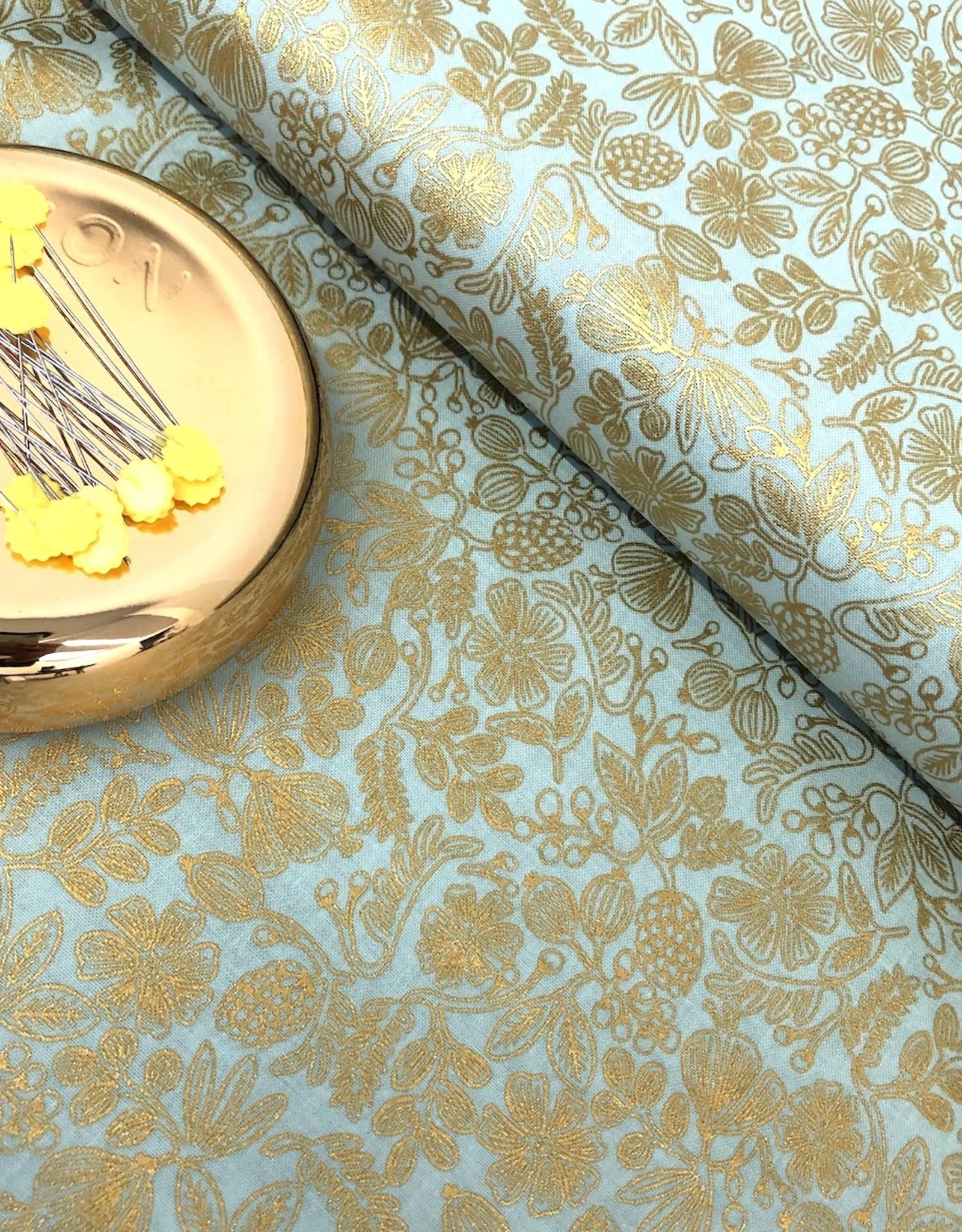 Rifle Paper Katoen - Rifle Paper Flowers - Mint & Gold