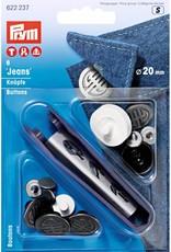 Jeansknoop - Prym 20mm - Oud Zilver