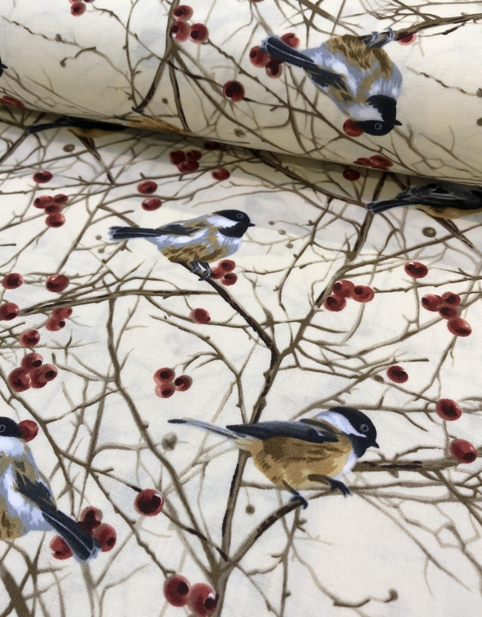 Timeless Treasures Katoen - Bird Chickadee Tree
