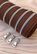 1 m spiraalrits roodbruin/zilver +  3 schuivers
