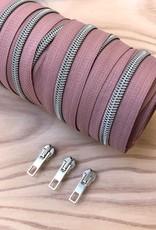 1 m spiraalrits rose/zilver  +  3 schuivers