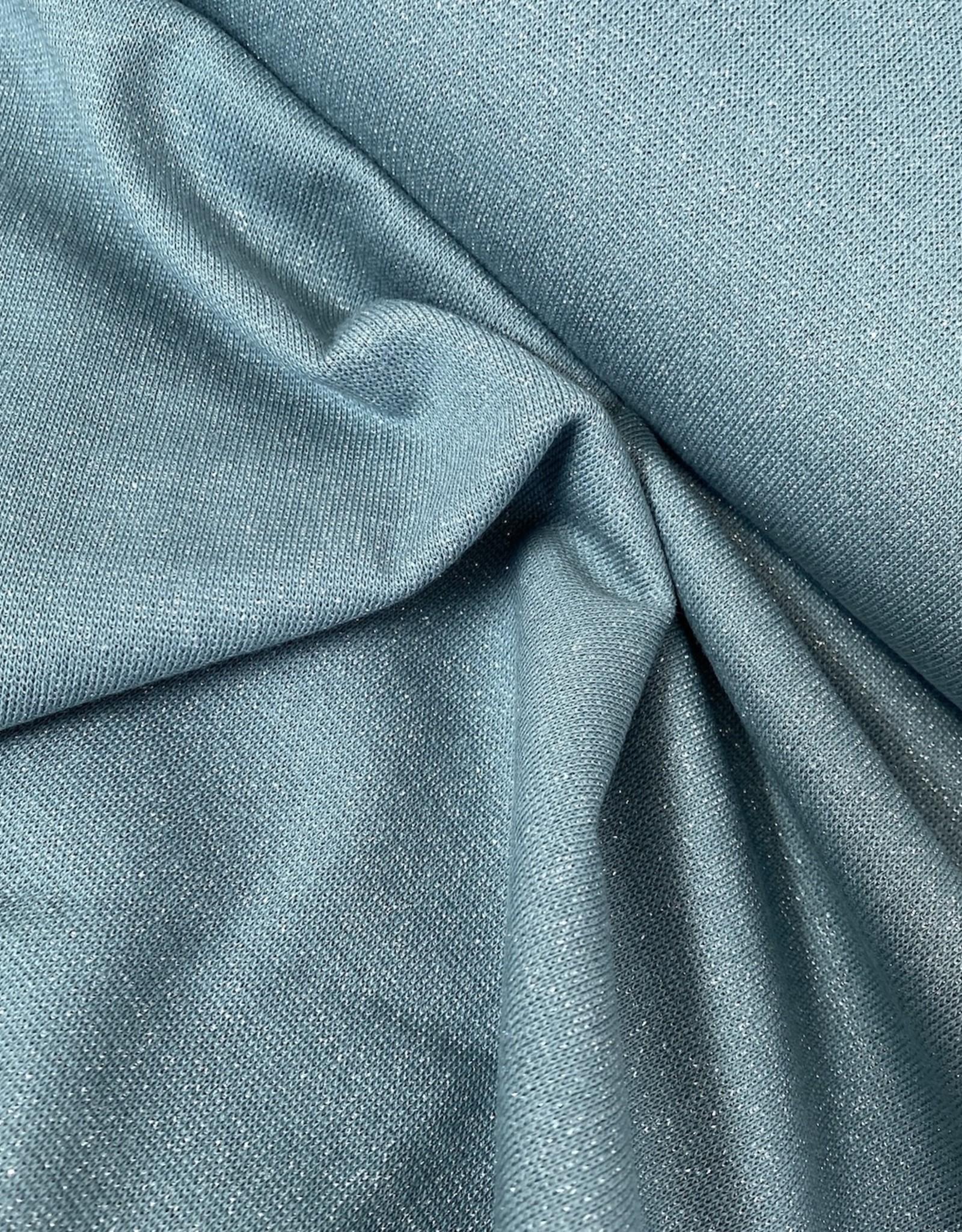 Boordstof - Glitter - Zacht Aqua - Zilver