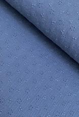 Double Gauze Broderie -  Jeans Blauw