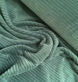 Stretch Rib Velours - Dusty Green