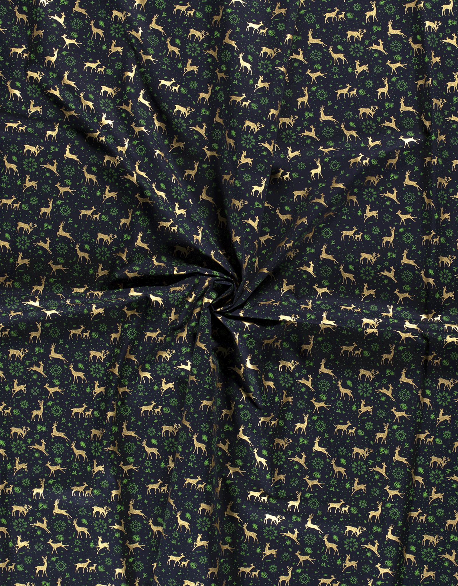 Katoen - Kerst Hertjes - Groen