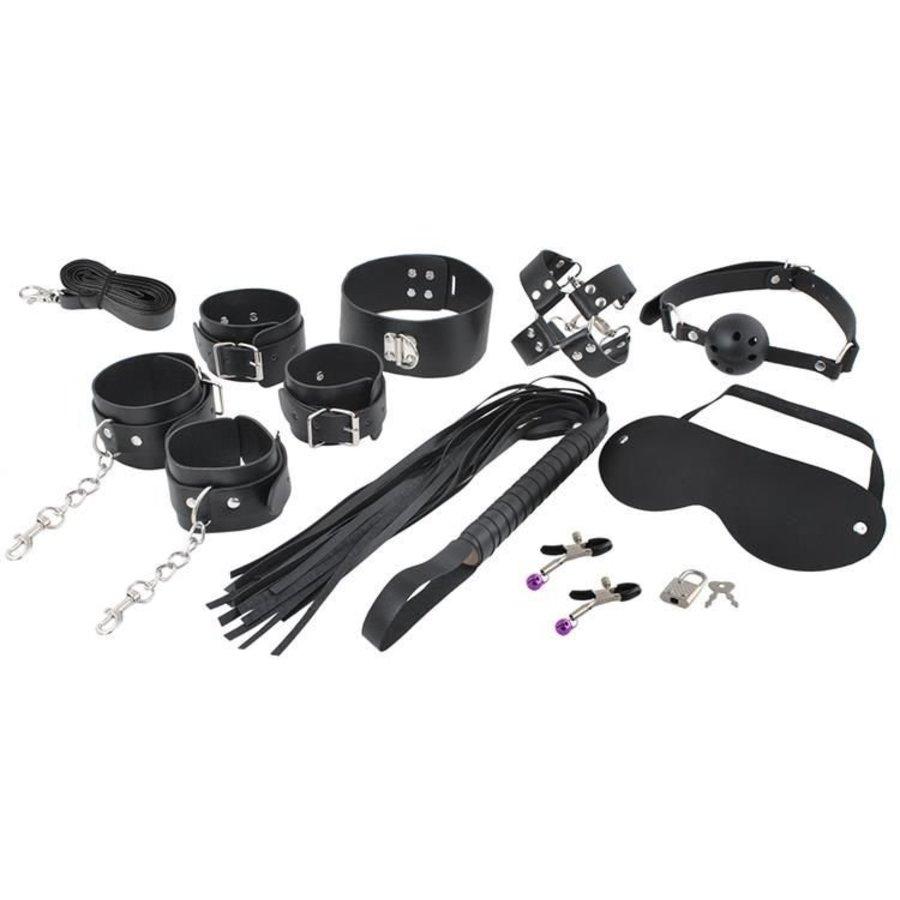 XXL Bondage set – Luxe Seks Speeltjes set – BDSM set – Zweep, handboeien, gag ball, tepelklemmen, bondagetouw – 13 delig - Zwart