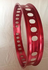 """cut-out rim RM100, 26"""", red anodized, 32 spoke holes, round cut-outs"""