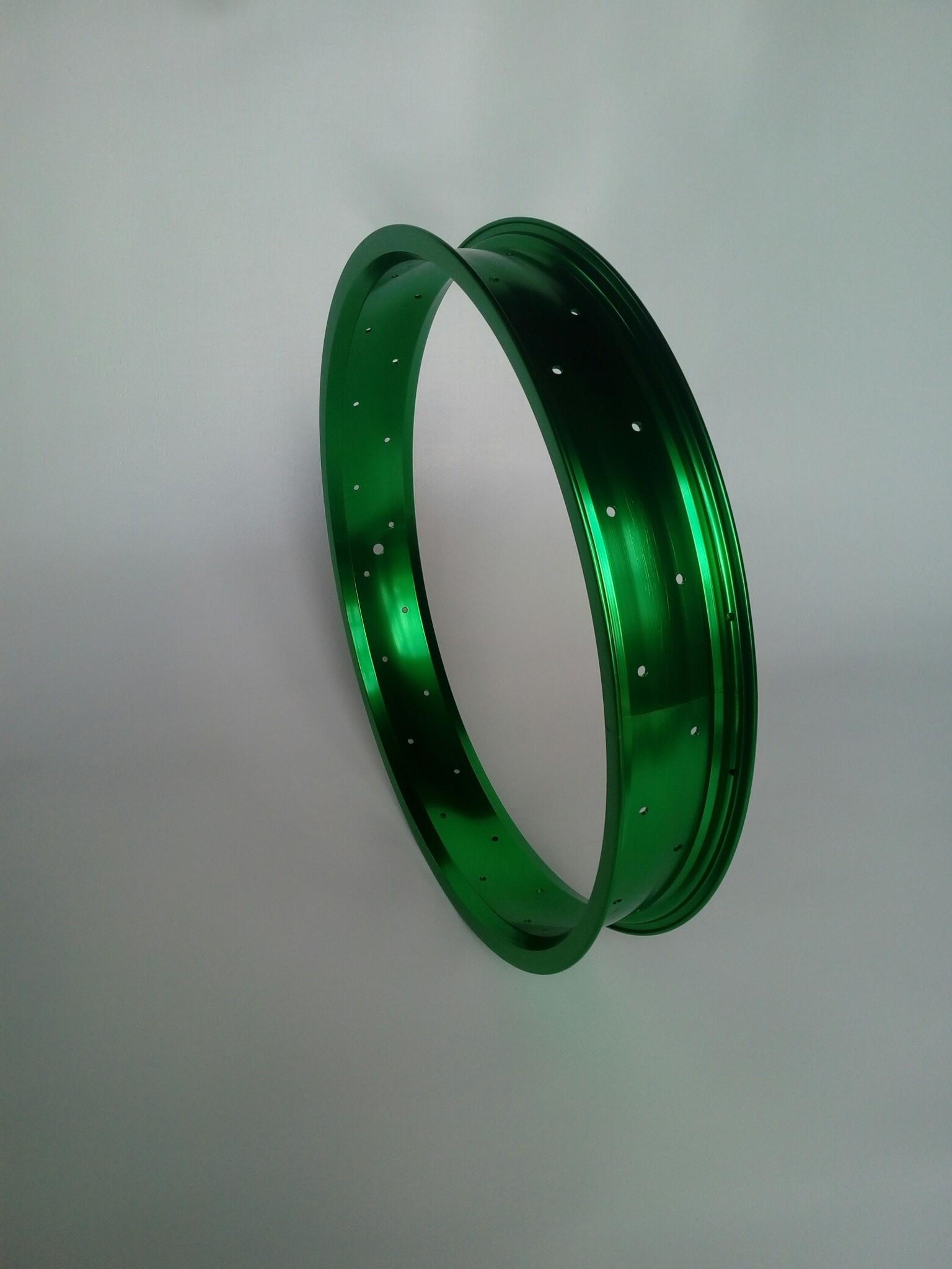 """Alufelge RM65, 20"""", grün eloxiert, 36 Speichenlöcher"""
