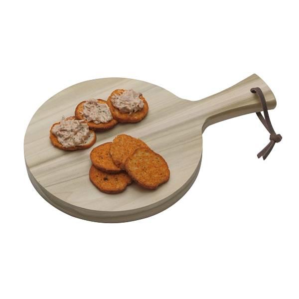 Rond serveerplankje met greep Ø19 x 2 cm, hout van de tulpenboom