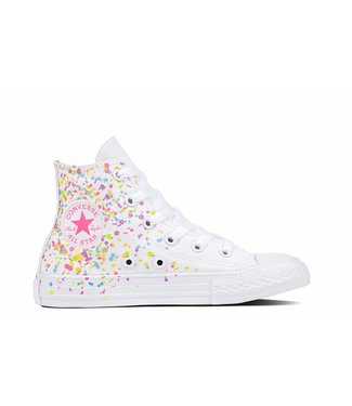 Converse CHUCK TAYLOR ALL STAR - HI - WHITE/MULTI/NEON PINK - JUNIOR