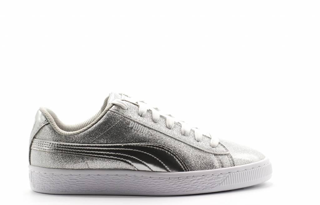 Basket Metallic Jr Puma Silver Gray Violet White
