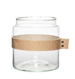 Hubsch Vaas met leer - Glas