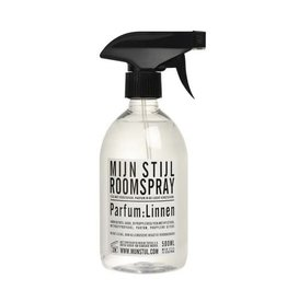 Mijn Stijl Roomspray Linnen 500 ML Wit/Zwart etiket