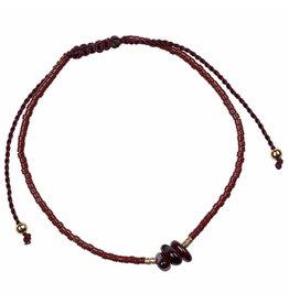 Pimps and Pearls Treasure Rocks Pull Bracelet 04 Red Granaat