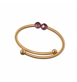 Pimps and Pearls Ring Flex 05 Red Garnet Gold