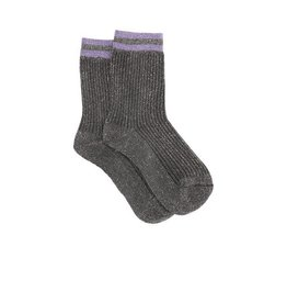 PiNNED by K Socks Stripe Glitter Black Purple