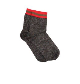 PiNNED by K Socks Stripe Glitter Multi Greed Red